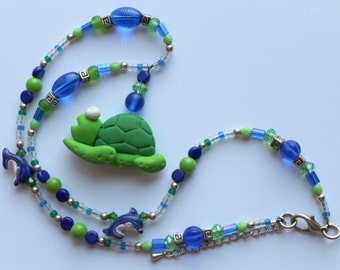 O O A K - Polymer Clay & Glass Beaded Necklace - TURTLE RACE - N104