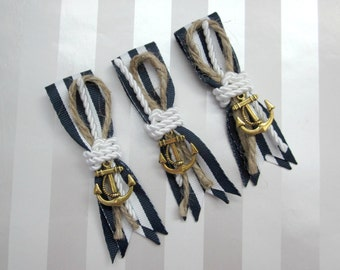 Nautical Boutonniere, Knotted Rope with Stripe Ribbon & CHARM
