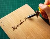 Custom Script Oak Wood Covered Journal - pyrography/wood burnt letters