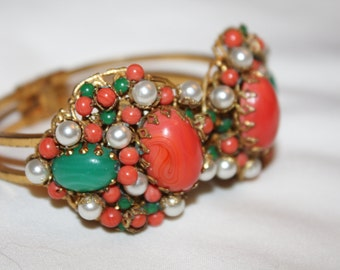 Coral Jade Clamp Bracelet Bangle  House of Schrager Jonne Vintage 1950s Jewelry