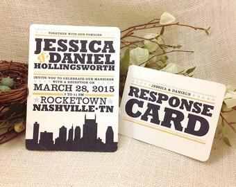 5x7 Hatch Show Print Inspired Nashville City Skyline Invitation with RSVP Postcard: Get Started Deposit
