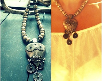 Awesome Toda Tribe Silver Necklace. Tribal Indian Necklace.