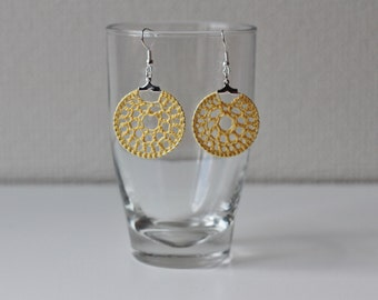 Hand crocheted yellow coton earrings