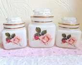 Vintage Vanity Jar Glass Jars with Lids White Pink Roses