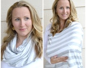 Heather Gray and White Stripe Nursing Scarf, Cover, Infinity Scarf, Breastfeeding accessory, Breastfeeding cover, Breastfeeding top