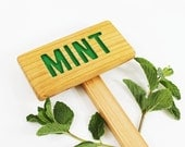 MINT Garden Sign, Painted & Oil Sealed Cedar Wood: Hand Routed Herb Sign