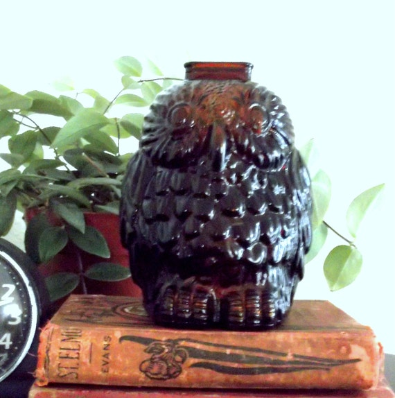 Amber glass owl bank vintage bank wise old owl glass owl - Wise old owl glass bank ...