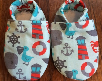 Baby shoes- nautical  - customizable, elastic heels, soft sole, toddler, booties