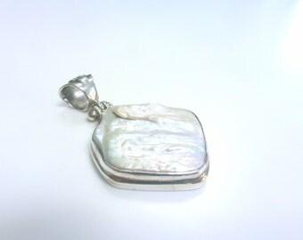 Pearl Pendant Sterling Silver Biwa Pearl Pendant White Pearl Necklace Pendant