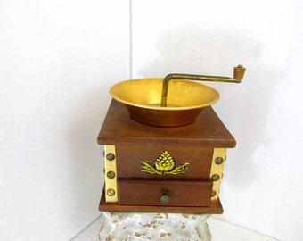 SALE Vintage Coffee Grinder Wood Brass Manual