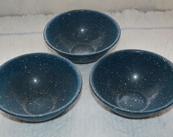 Vintage blue and white enamelware bowls set of three small blue cereal bowls
