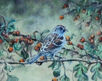 "Fine Art Print of My Original Oil Painting 8 X 10 ""Sparrow"""