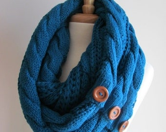 Teal Blue Infinity Loop Scarf Braided Cable Knit Peacock Neckwarmer Blue Scarves with Buttons Women Girls Accessories