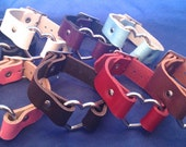 Leather Heart Ring Bracelet 20mm Choice of Colours Hand Made Real Leather Goth Punk