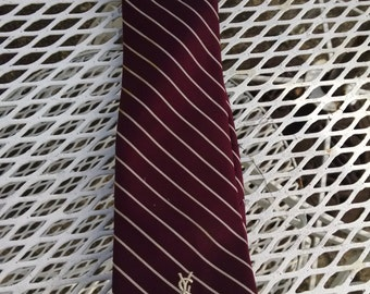 Yves Staint Laurent   Burgundy Striped Tie