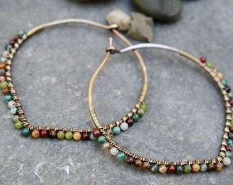 Oxidized Bronze Hoops, Desert Calico,  2 inch hoops, Bronze Hoops, Petal Hoops, Wire Wrapped Hoops, Stone Hoops, Earth Tones, Boho Jewelry