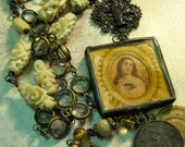 Hand Soldered Religious Mary and Child Necklace
