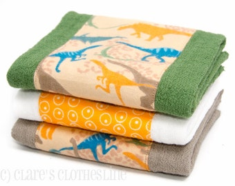 Baby Burp Cloths - Orange and Green Dinosaurs Burp Cloth Set of 3 - Ready to Ship