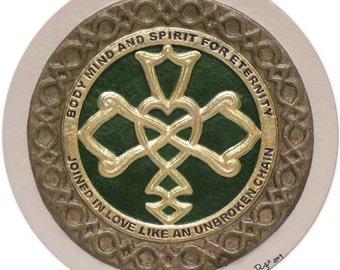 Celtic Wedding Knot  -Cast Paper - Celtic Blessing - wedding gift - Irish art - Celtic art - Scottish art