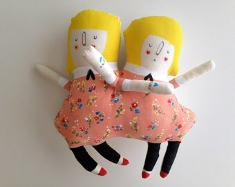 Olivia and Penelope Vintage Circus Sideshow conjoined Twins - sisters Art Plush Doll Handmade and Painted OOAK -ready to ship soft sculpture
