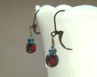 Red Picasso Czech Glass Earrings Deep Red Blue Swarovski Earrings