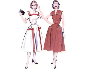 1950s Dress Pattern Butterick 6082, Double Breasted Sailor Dress, Large Stand Up Pockets, Contrast Trim, Vintage Sewing Pattern Bust 30