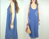 90's Dress Large 80's Dress Large Minimalist Dress Denim Dress Vintage Maxi Dress Hippie Dress Boho Dress Long Denim Dress Grunge Dress H