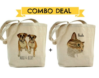COMBO DEAL for Two Custom pet portrait tote bags. Custom pet portrait from your photo. Personalized cotton tote bag. Gift idea. Pet art
