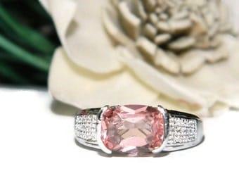 Morganite Ring, Sterling Silver, Anniversary Ring