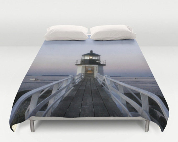 Marshall Point Lighthouse Duvet Cover, King Duvet, Queen Duvet, Bed Cover, Bedding, Home Decor, Lighthouse