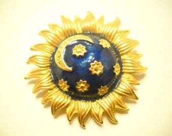 Large Gold Tone & Enamel Sunburst Brooch (8694**)