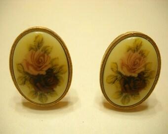 Vintage Rose Marie Clip Earrings (9849)