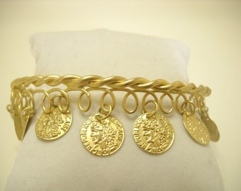 Vintage Gold Tone Dangle Upper Arm Bracelet (9004)