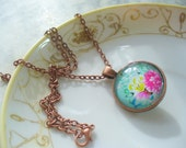 Reversible Antique Copper Cabochon Necklace, Butterfly and Flower Necklace, Rhinestone Necklace, Birthday Gift, Womens Jewelry, Two in One