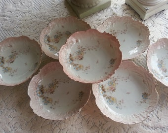 Stunning Set of 8 Antique Prussia Era Hand Painted Bowls, Germany