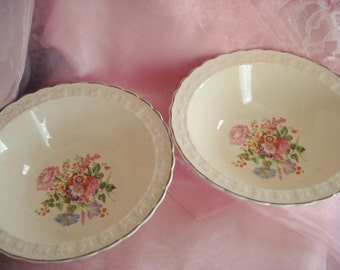 Vintage Serving Bowls TST China Taylor Smith Taylor Set of 2 Shabby Cottage Chic Floral