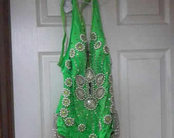 Rhinestone and Beaded Bathing Suit, Handmade and Used By Circus Performer