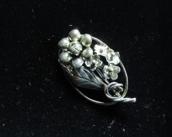 Sterling Silver Flower Bouquet Brooch, Signed