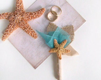 Starfish Boutonniere, Beach Wedding, Grooms Flower, Buttonhole, Lapel Pin, Groomsmen, Destination Wedding Custom Color, Blue, Aqua, Teal,
