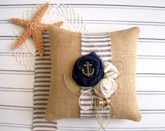 Rustic Nautical Ring Pillow, Ring Bearer, Wedding Ring Bearer, Nautical Anchor Navy, Burlap Ring Cushion, By the Sea