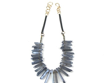Pyrite and Blue Gray Crystal Necklce
