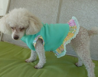 Dog Clothes, Puppy Dress in a Beautiful Teal Bodice with sleeves and Ruffle in Spring Colors with a cute Pink bow.