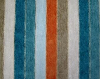 Turquoise Orange Stripe Upholstery Fabric - Striped Chenille Fabric for Furniture - Modern Blue Orange Pillow Cover - Custom Chenille Pillow