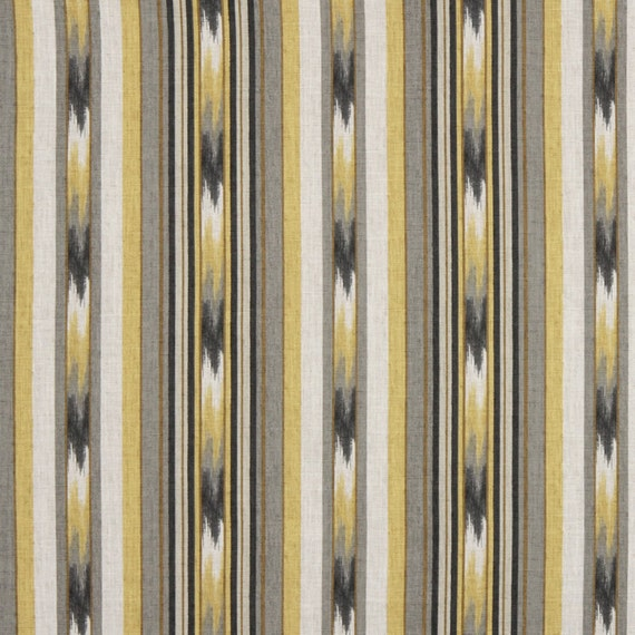 Yellow Grey Ikat Cotton Upholstery Fabric By Popdecorfabrics