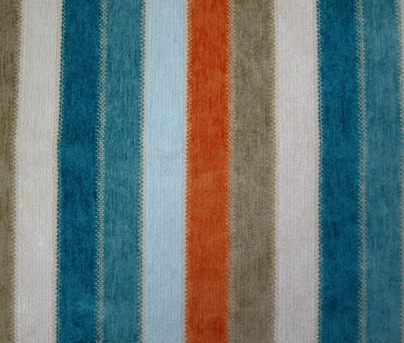 Bradberry Downs Blue Aqua Teal Light Green Yellow Wool: Turquoise Orange Stripe Upholstery Fabric Striped Chenille