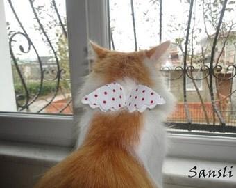 Cat collar-adjustable collar-custom collar-crochet cat collar-cat accessories-angel.Adjustable cat collar white with Bell