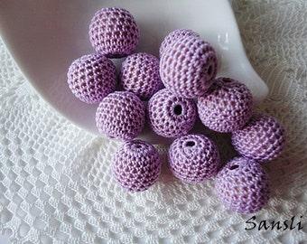 12 pcs- 16 mm beads-crocheted bead-lilac beads-round beads-crochet ball beads-beads crochet-embellishment-wooden crochet cotton yarn beads