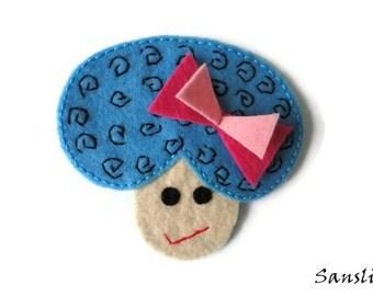 Felt brooch-brooch felt-felt pin-felt girl brooch-girl brooch-accessories brooch-felt jewelry-felt accessories-blue girl brooch