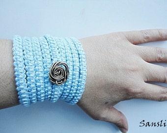 Women's bracelet-women's necklace-women's accessories-Crochet bracelet and necklace-blue bracelet-crochet accessories-cotton bracelet