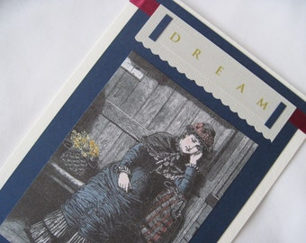 DREAM Encouragement Card Daydreaming Early Downton Abbey Era Victorian Woman Under Awning, Eco-Friendly Bamboo Card Stock, 5 x 7